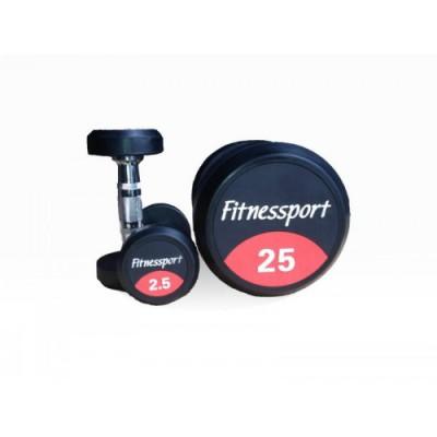 Обрезиненный   гантельный ряд  FITNESSPORT от 2.5 до 25кг (10 пар).