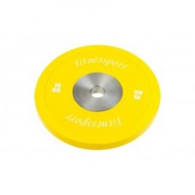 Бамперный диск для кроссфита Fitnessport (желтый) 15 кг.
