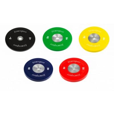Бамперный диск для кроссфита Fitnessport (красный) 25 кг.
